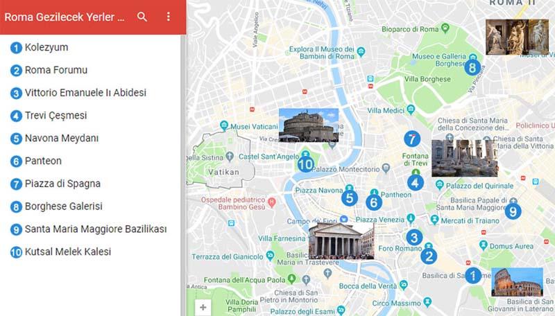 Roma Gezilecek Yerler Haritası