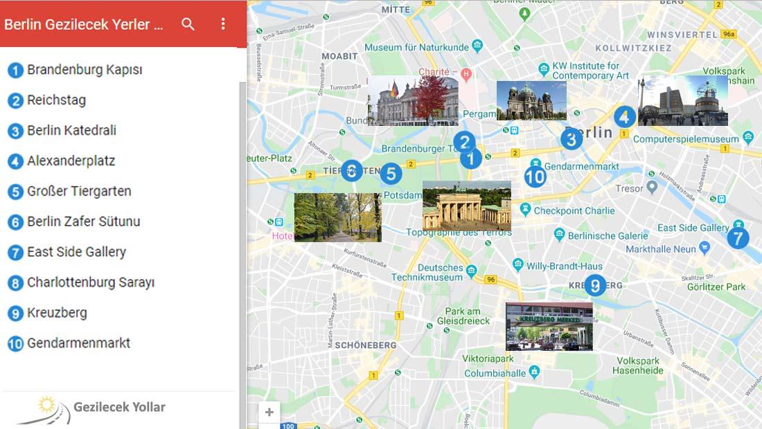 Berlin Gezilecek Yerler Haritası