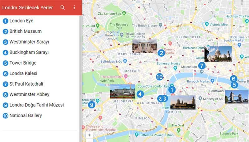 Londra Gezilecek Yerler Haritası