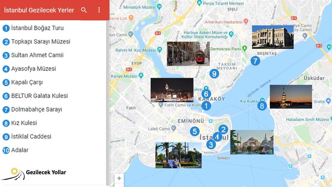 İstanbul Gezilecek Yerler Haritası