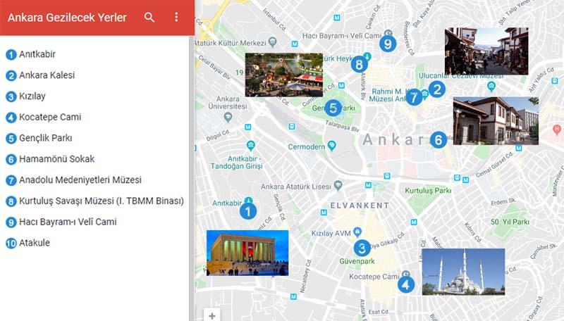 Ankara Gezilecek Yerler Haritası
