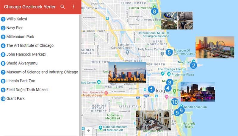 Chicago Gezilecek Yerler Haritası