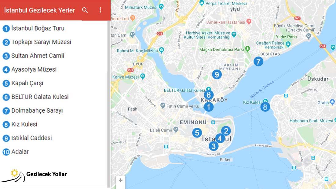 İstanbul Gezilecek Yerler Listesi
