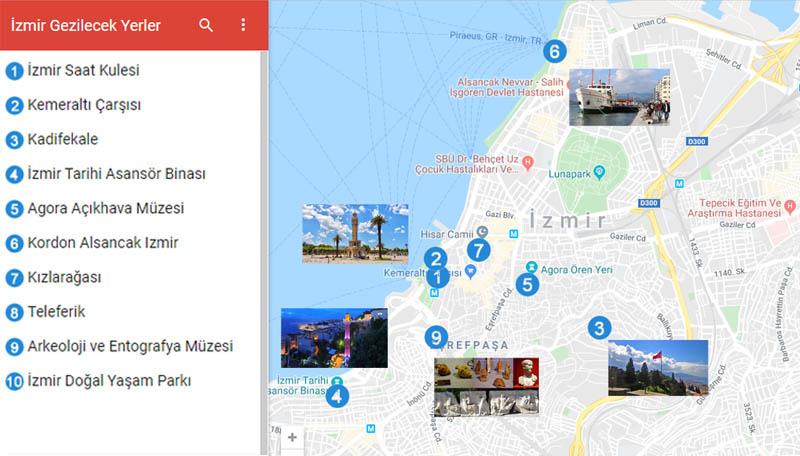İzmir Gezilecek Yerler Haritası