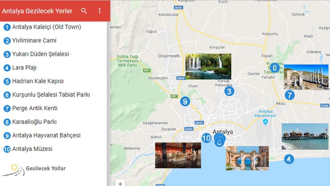Antalya Gezilecek Yerler Haritası