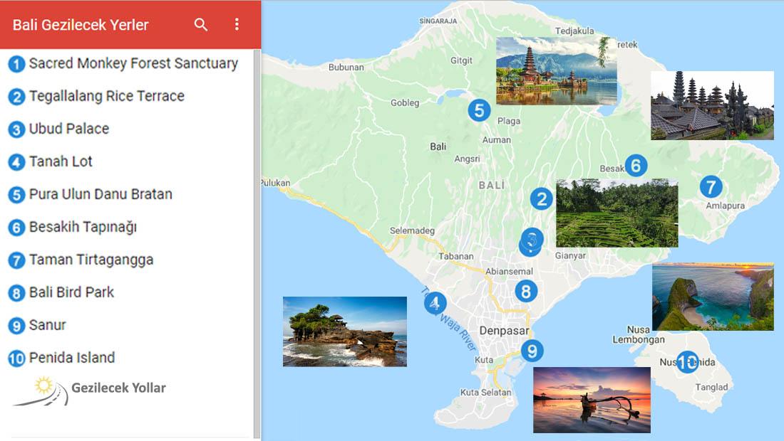 Bali Gezilecek Yerler Haritası