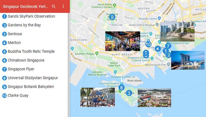 Singapur'da Gezilecek Yerler Haritası