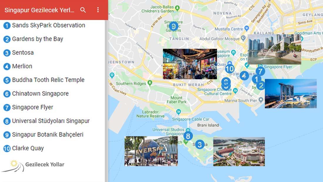 Singapur Gezilecek Yerler Haritası