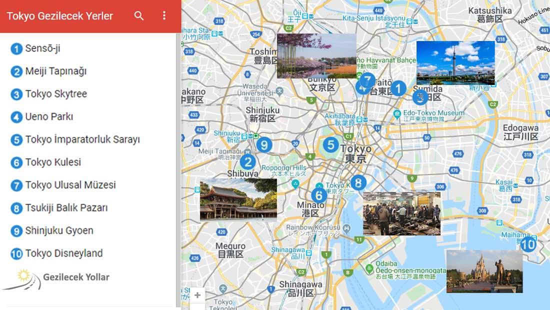 Tokyo Gezilecek Yerler Haritası