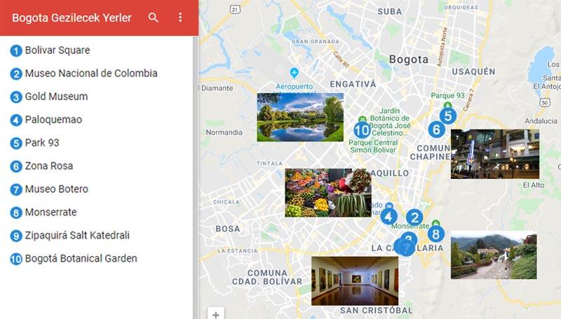 Bogota Gezilecek Yerler Haritası