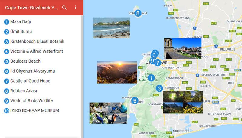 Cape Town Gezilecek Yerler Haritası