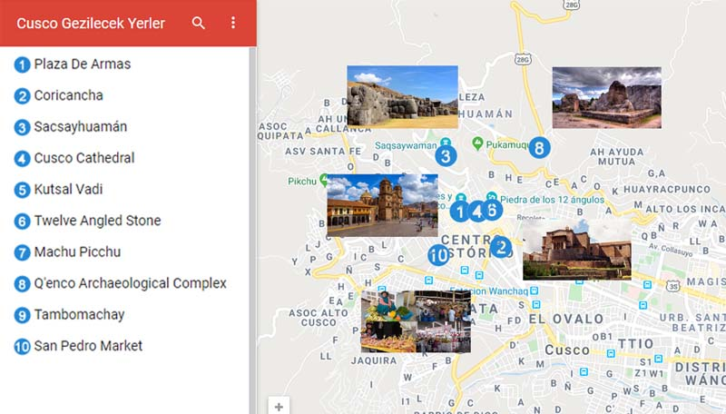 Cusco Gezilecek Yerler Haritası