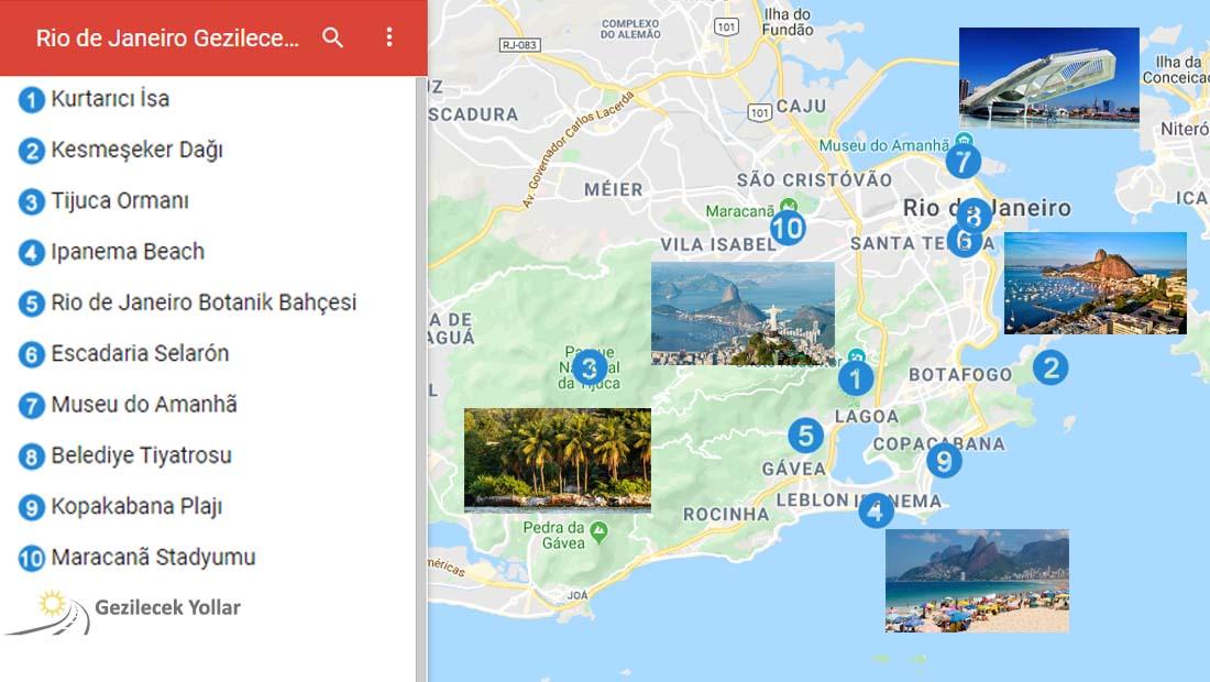 Rio de Janeiro Gezilecek Yerler Haritası