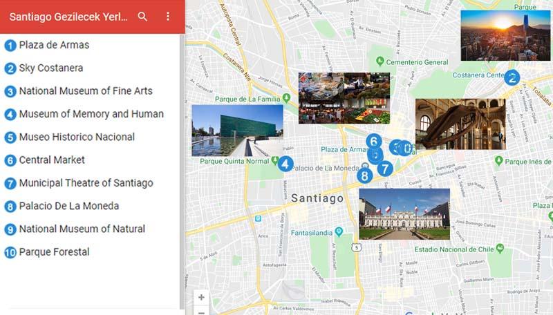 Santiago Gezilecek Yerler Haritası