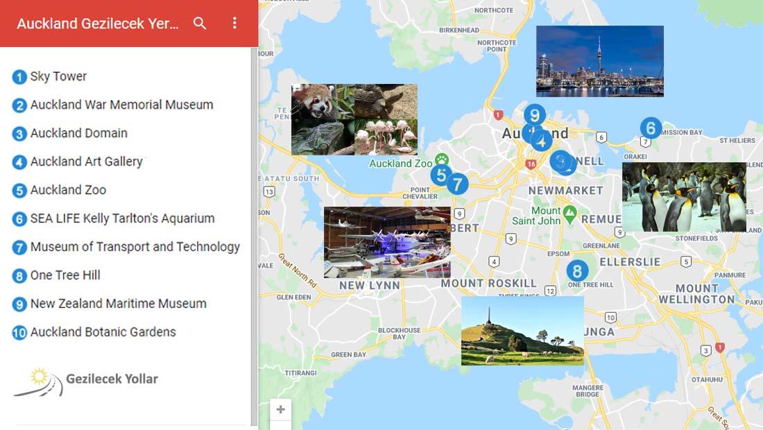 Auckland Gezilecek Yerler Haritası