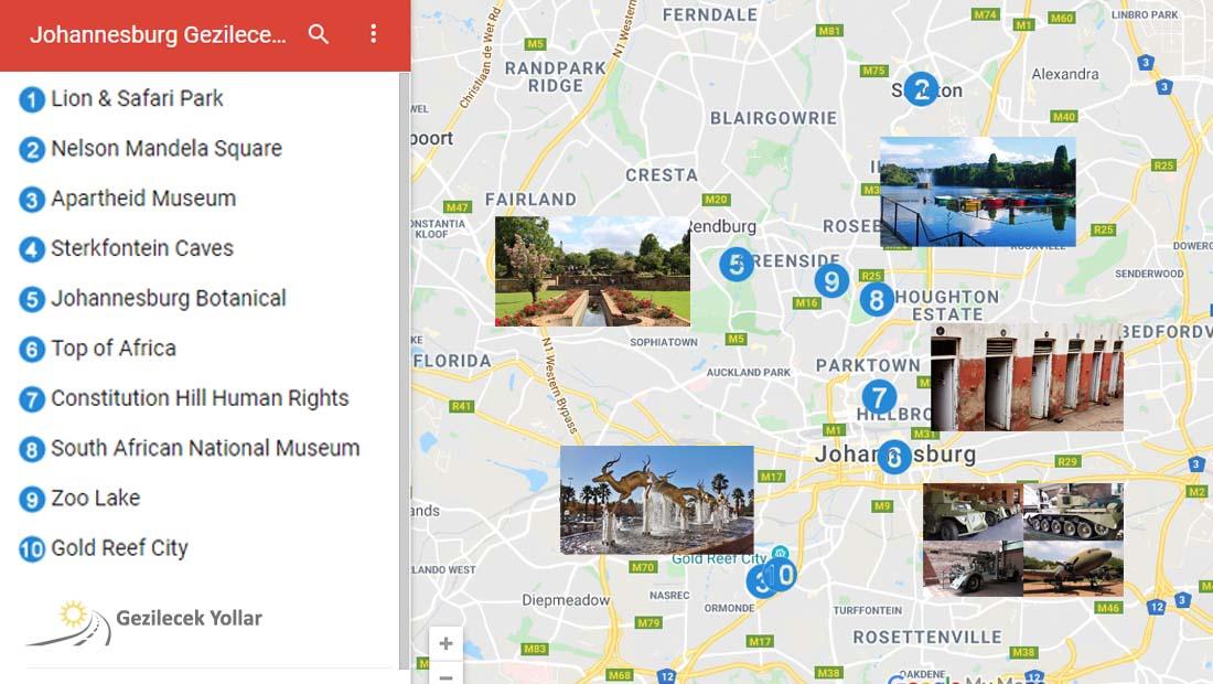 Johannesburg Gezilecek Yerler Haritası