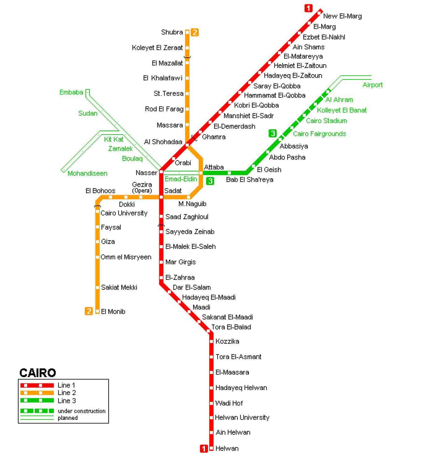 Kahire Metro Haritası