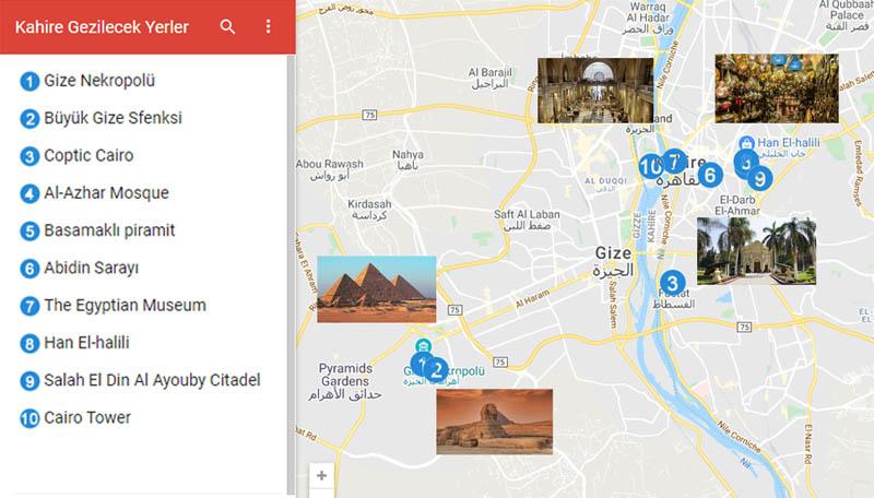 Kahire Gezilecek Yerler Haritası