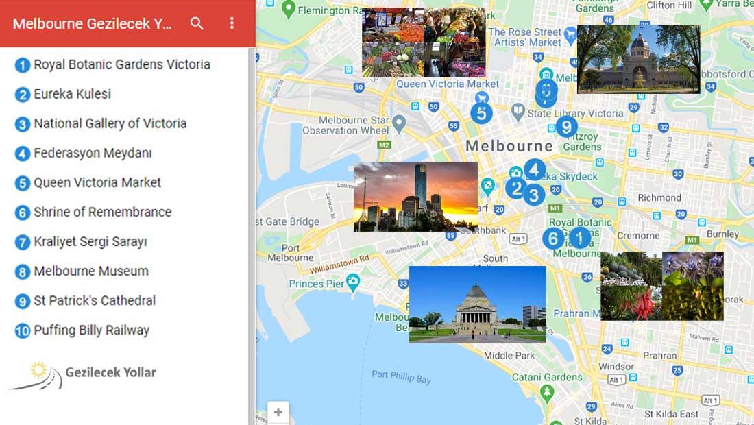 Melbourne Gezilecek Yerler Haritası