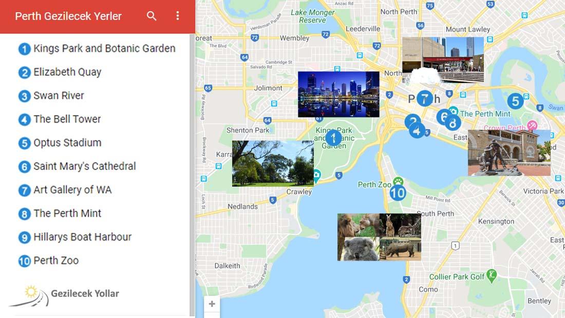 Perth Gezilecek Yerler Haritası