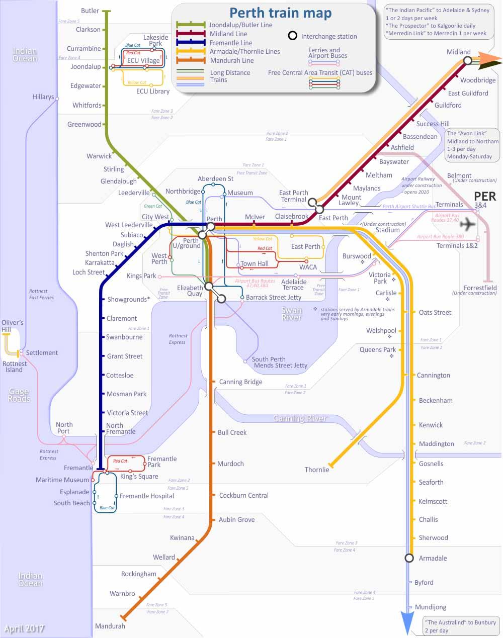 Perth Toplu Ulaşım Haritası