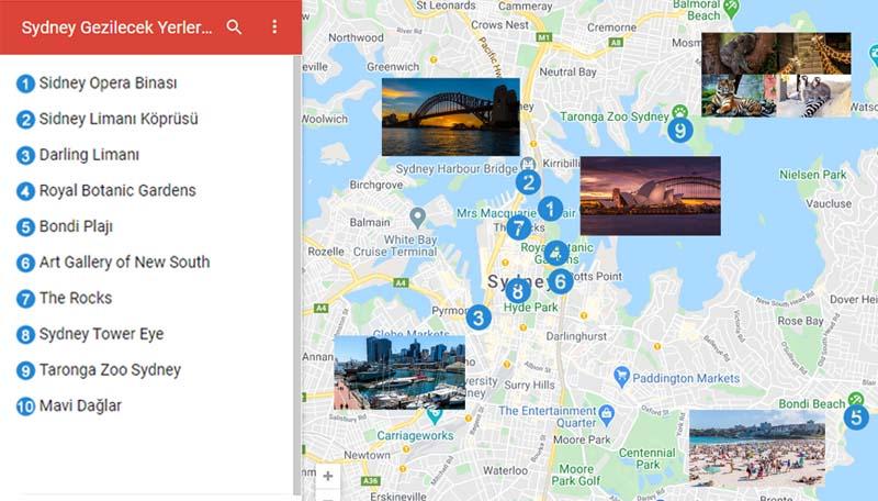 Sydney Gezilecek Yerler Haritası
