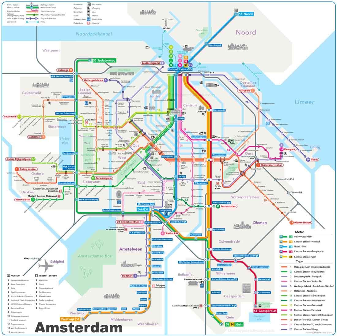 Amsterdam Tramvay Haritası