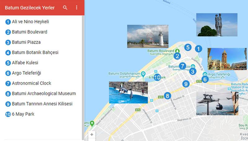 Batum Gezilecek Yerler Haritası
