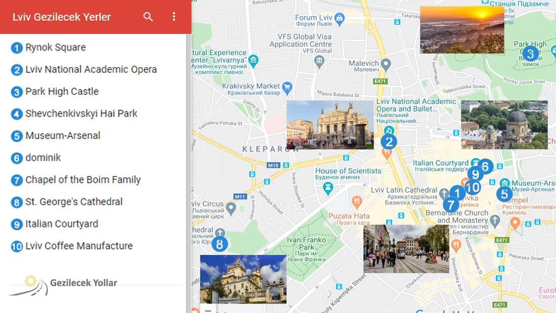 Lviv Gezilecek Yerler Haritası