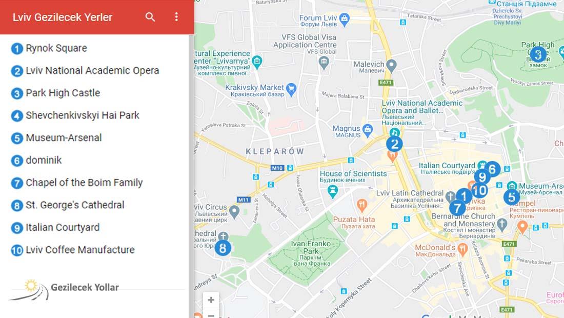 Lviv'de Gezilecek Yerler Haritası