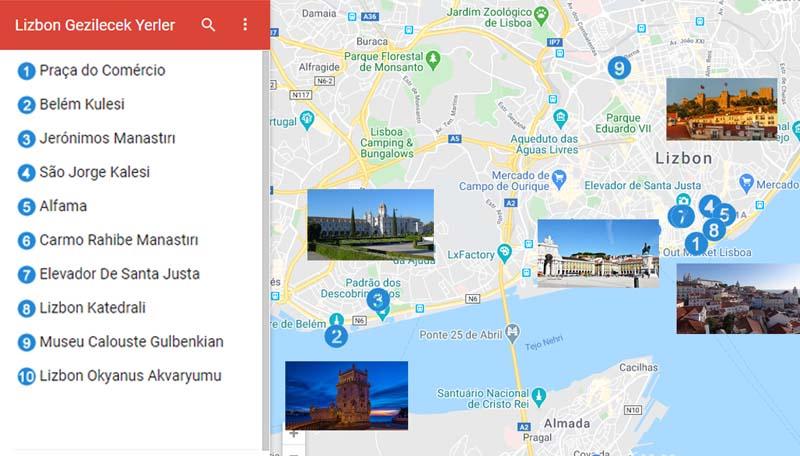 Lizbon Gezilecek Yerler Haritası