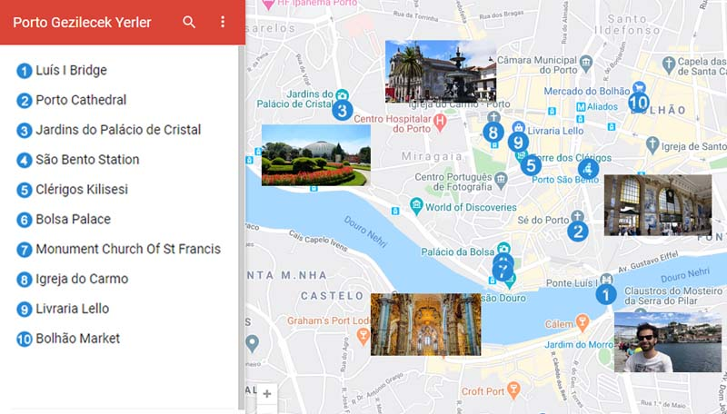 Porto Gezilecek Yerler Haritası