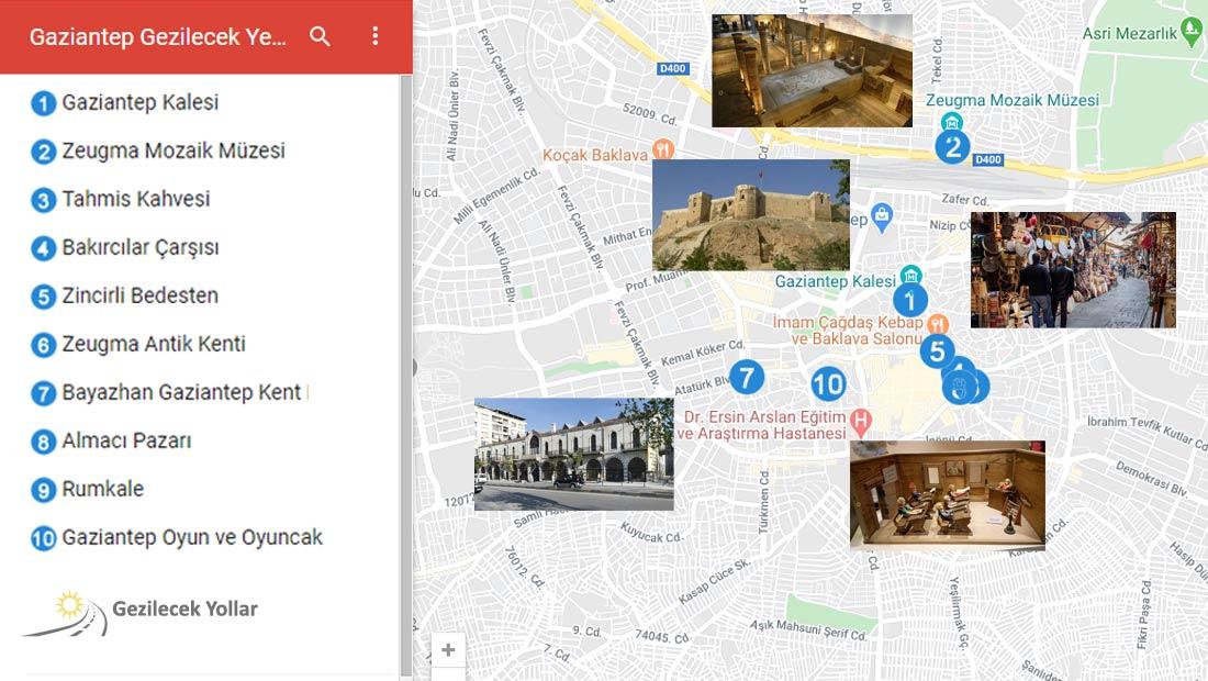 Gaziantep Gezilecek Yerler Listesi Haritası