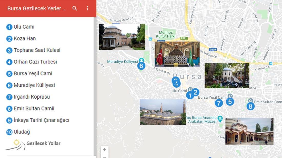 Bursa Gezilecek Yerler Haritası